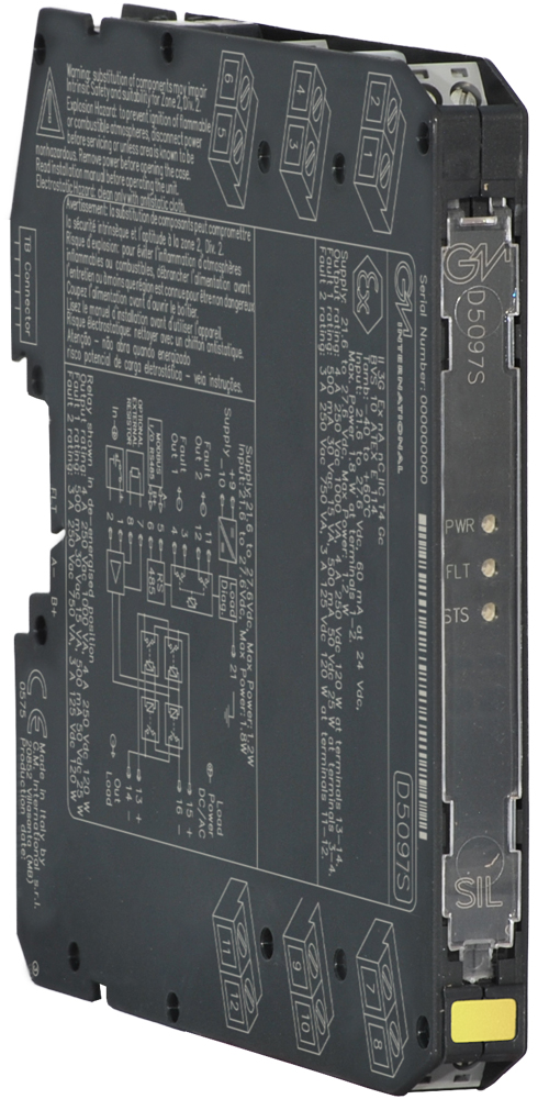 D5097S - 5 A SIL 3 NC contact Relay Out Module for NE or F&G/ND Load with open/short circuit diagnostic